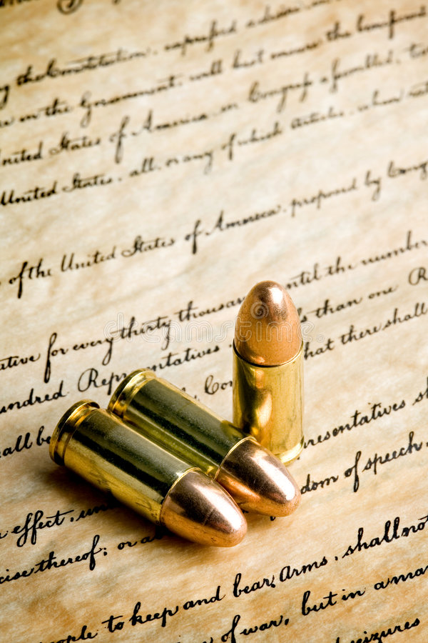 Bullets - the right to bear arms stock images