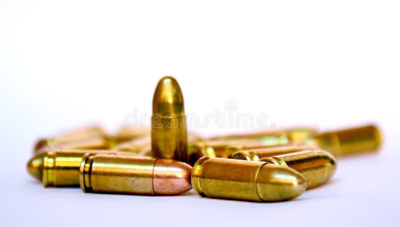 Bullets on white background. Studio shot royalty free stock photo
