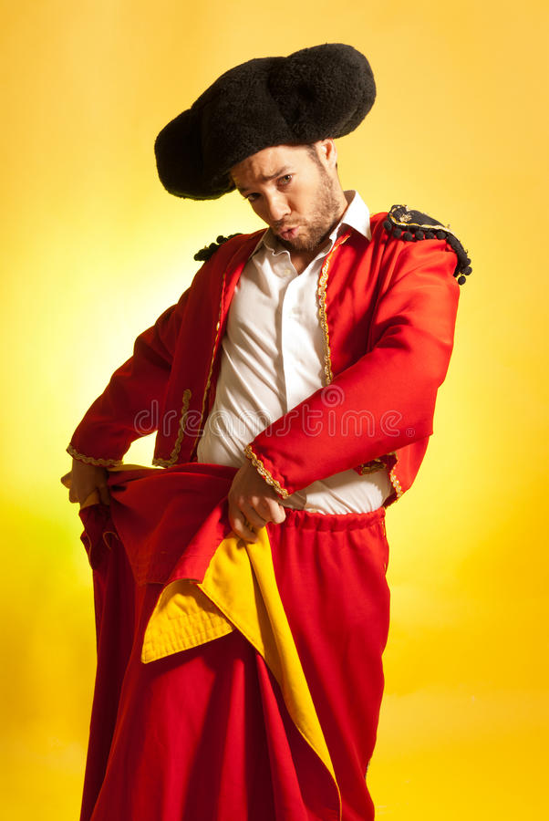 Download Bullfighter Courage Red Yellow Humor Spanish Color Stock Image - Image of closeup, hilarious: 23953935