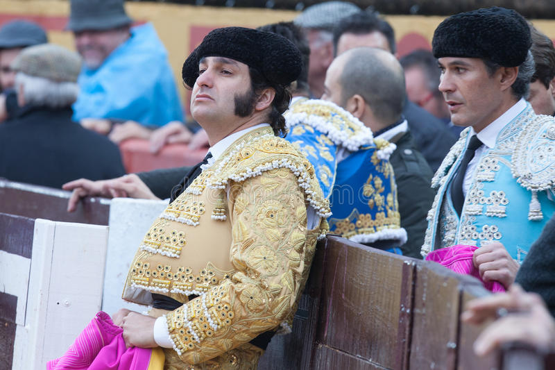 bullfighter looking attentively at the bull stock photography