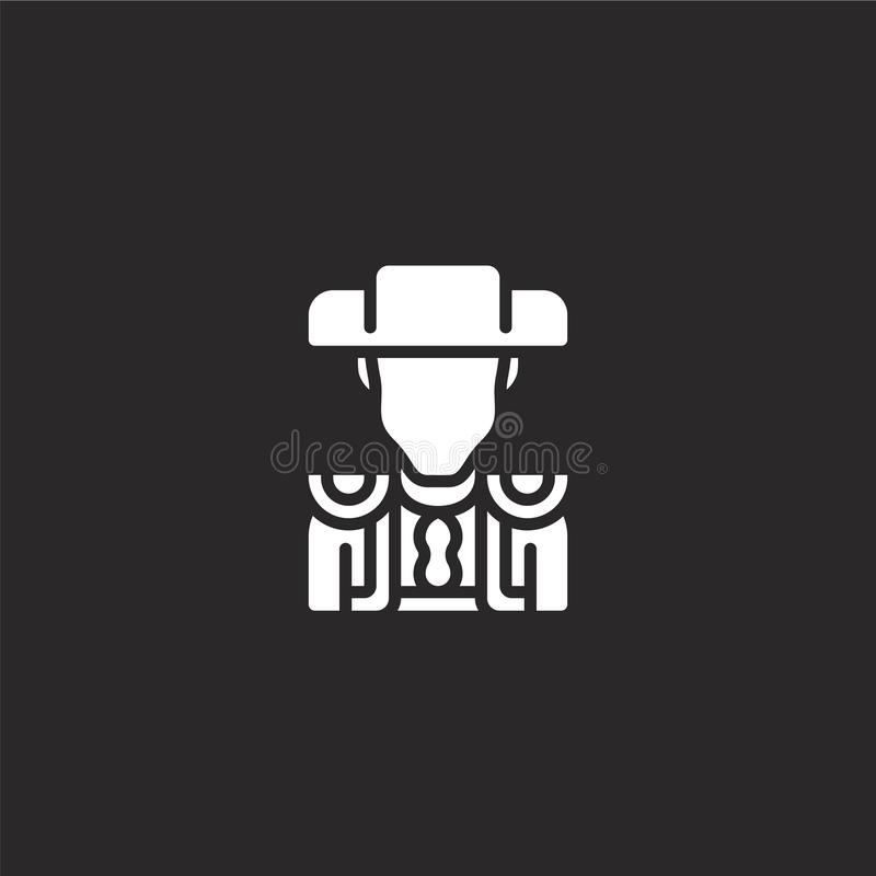 Bullfighter icon. Filled bullfighter icon for website design and mobile, app development. bullfighter icon from filled stereotypes. Collection isolated on black stock illustration
