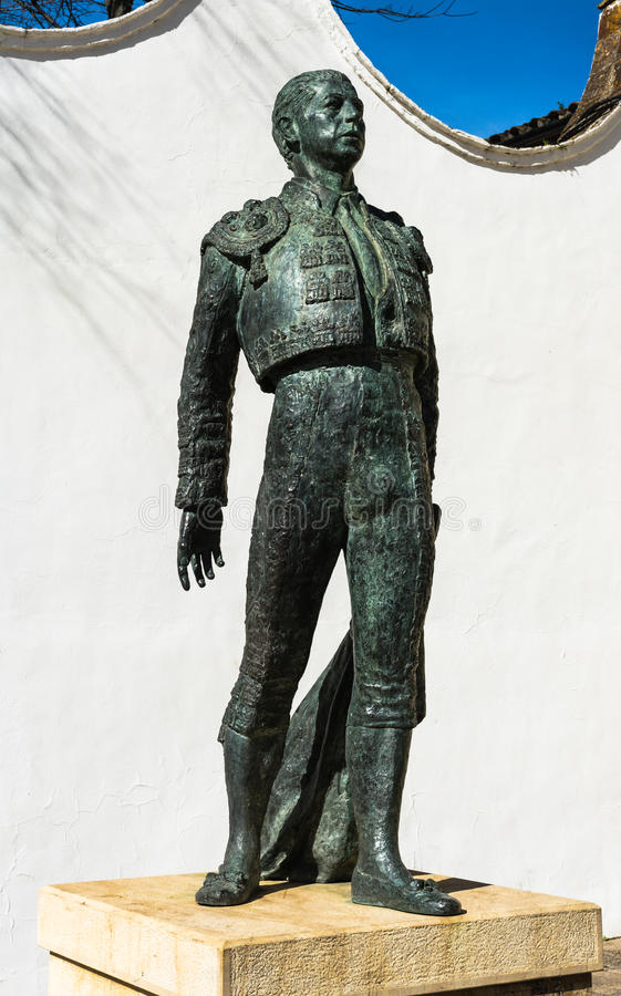 Bullfighter statue in Ronda, Spain stock photography