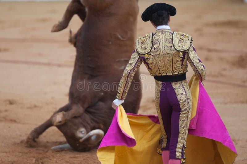 Bullfighter und Stier stockfoto