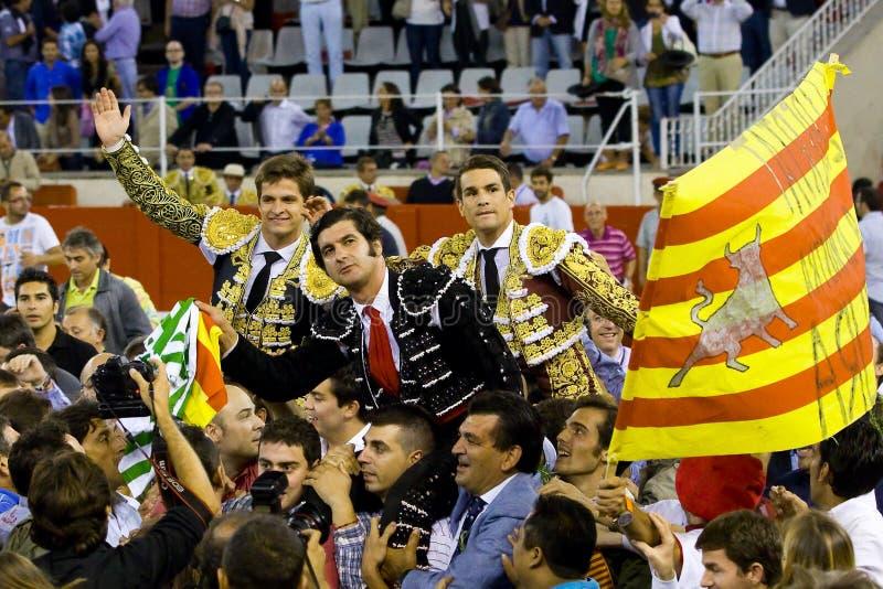 Bullfighters in Barcelona stock image