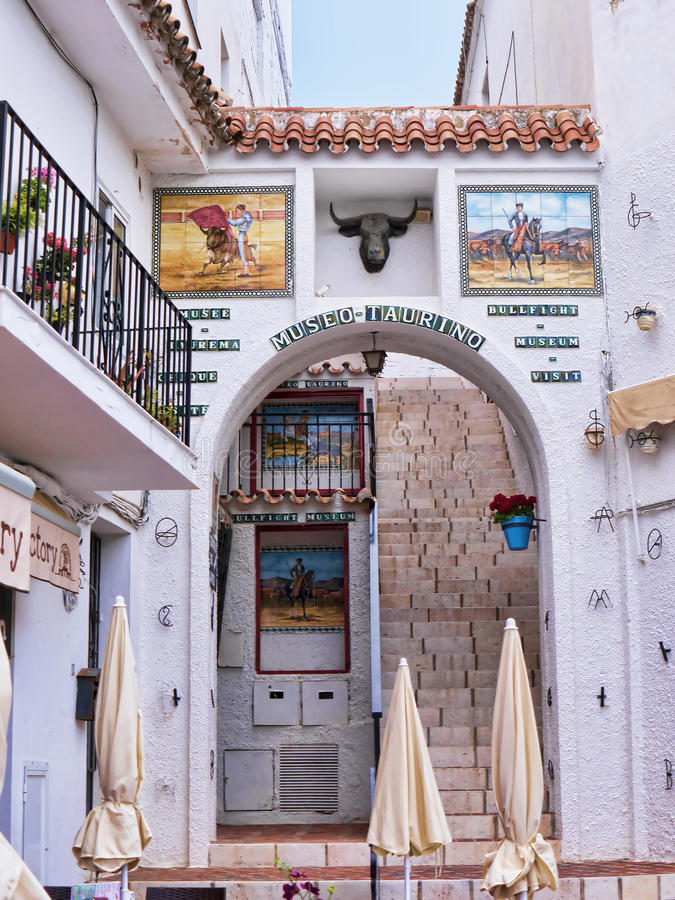 The Bullfighting Museum in Mijas on the Costa del Sol Spain. Mijas one of the most beautiful 'white' villages of Andalucia. It is in the Alpujarra mountains royalty free stock photos
