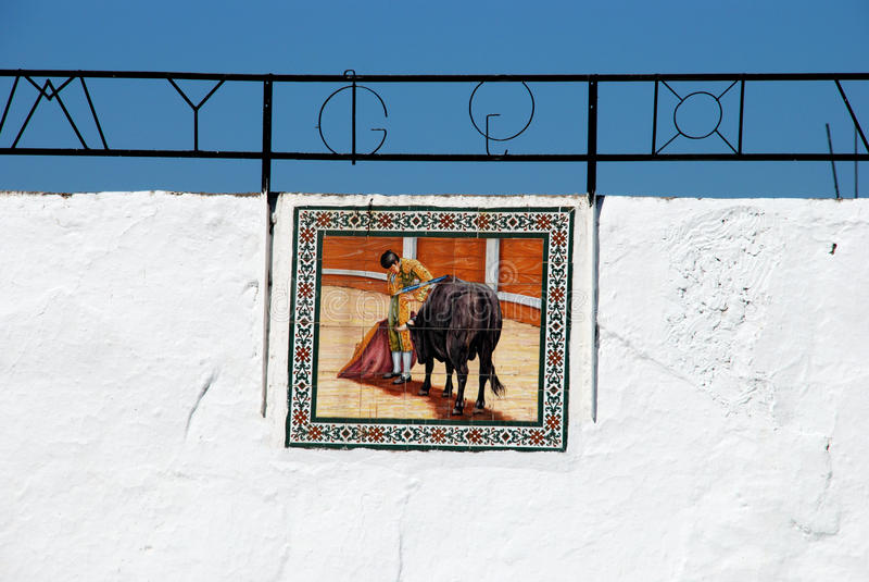 Bullfighting obrazek na Mijas bullring ścianie fotografia royalty free