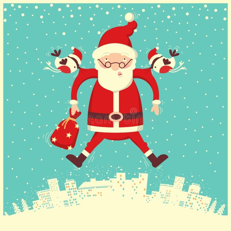 Bullfinch και Άγιος Βασίλης που πετούν στο χειμερινό ουρανό Χριστούγεννα εύθυμα απεικόνιση αποθεμάτων