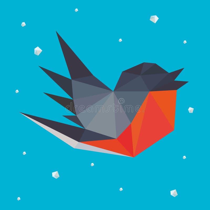 Bullfinch στη Polygonal τέχνη ύφους ελεύθερη απεικόνιση δικαιώματος