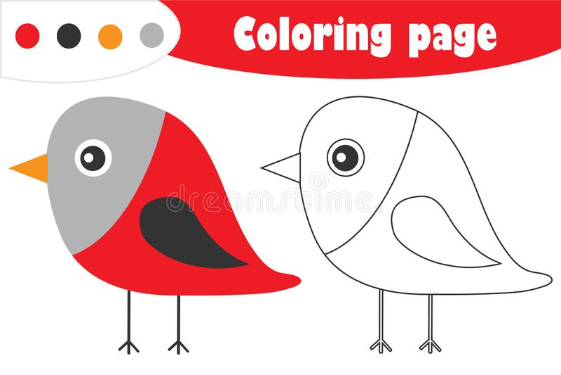 Bullfinch στο ύφος κινούμενων σχεδίων, χρωματίζοντας σελίδα Χριστουγέννων, παιχνίδι εγγράφου εκπαίδευσης για την ανάπτυξη των παι διανυσματική απεικόνιση