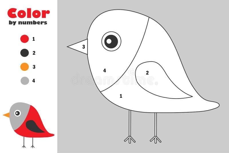 Bullfinch στο ύφος κινούμενων σχεδίων, χρώμα από τον αριθμό, παιχνίδι εγγράφου εκπαίδευσης Χριστουγέννων για την ανάπτυξη των παι διανυσματική απεικόνιση