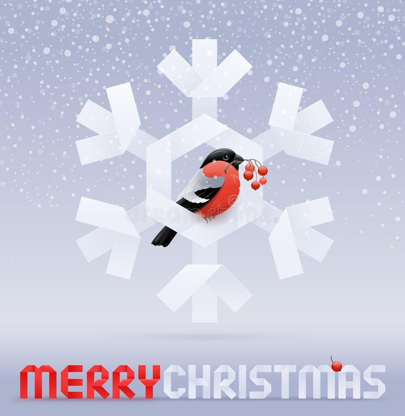 Bullfinch avec des baies d'une cendre se reposant sur le flocon de neige illustration stock