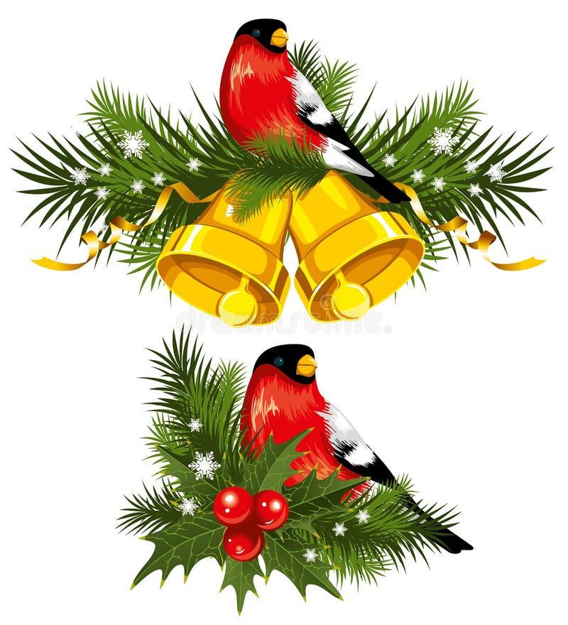 Bullfinch avec des cloches de Noël illustration libre de droits