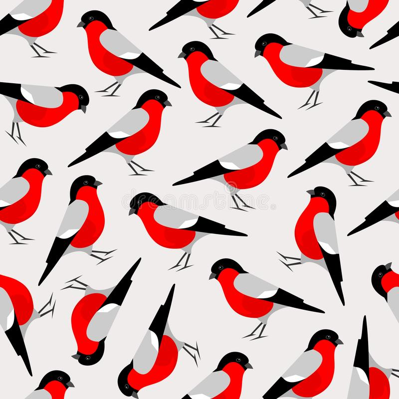 Bullfinch bird seamless pattern. Merry Christmas collection background. Natural winter texture. Vector illustration vector illustration