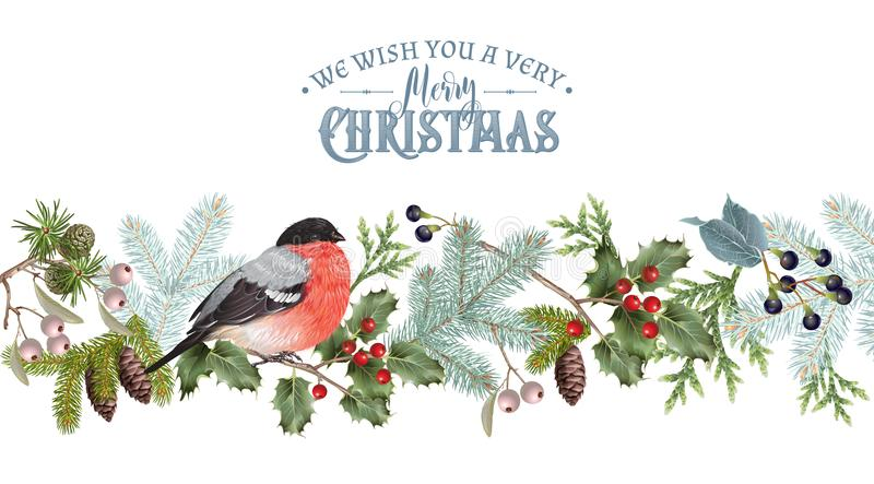 Bullfinch Christmas border. Vector vintage border with winter forest branches and bullfinch. Highly detailed winter design for Christmas greeting card, party stock illustration