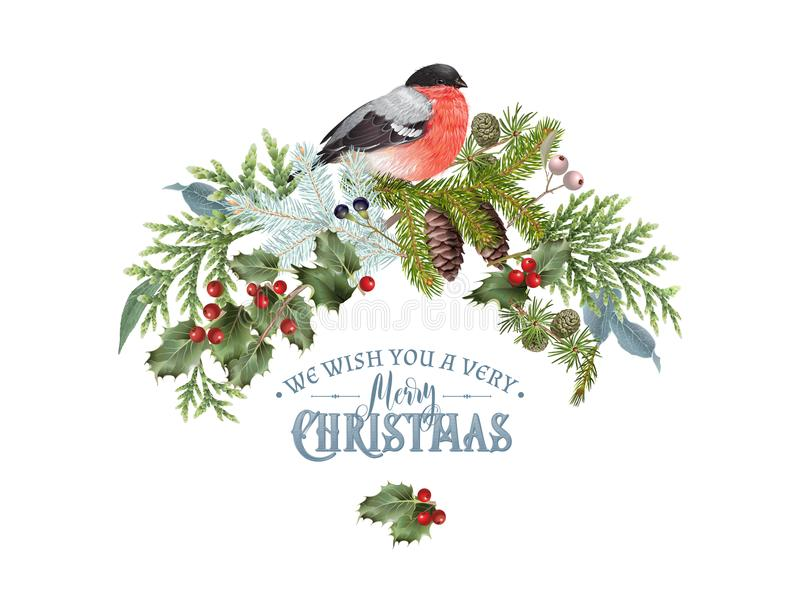 Bullfinch Christmas composition. Vector vintage Christmas banner with forest branches and bullfinch. Detailed winter design for Christmas greeting card, party royalty free illustration