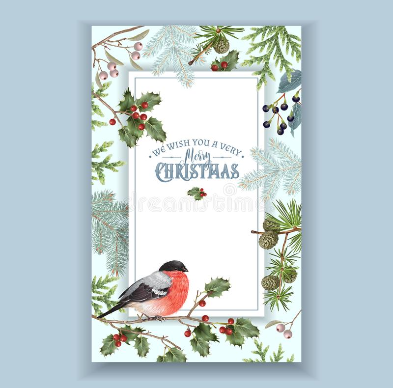 Bullfinch Christmas frame. Vector vintage Christmas frame with forest branches and bullfinch. Detailed winter design for Christmas greeting card, party vector illustration
