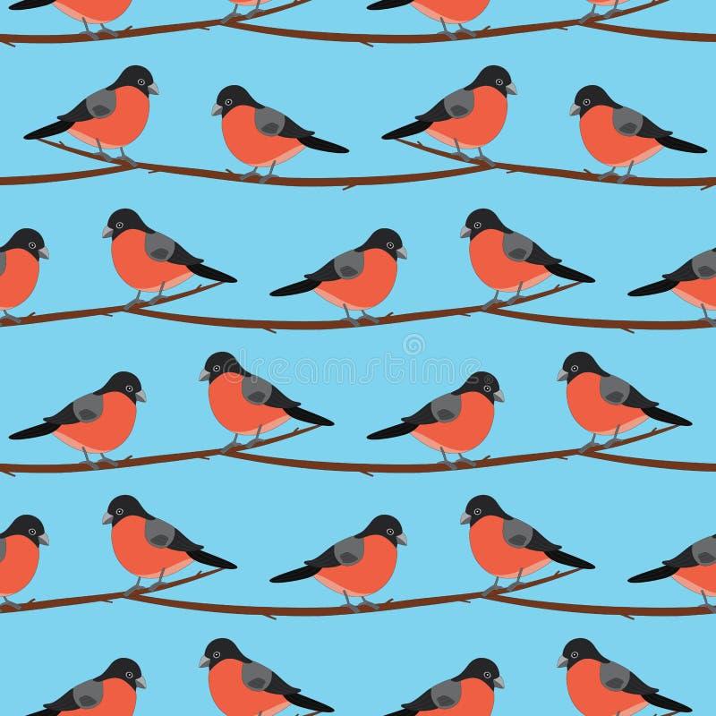 bullfinch Configuration sans joint Oiseau de vecteur sur la branche illustration de vecteur