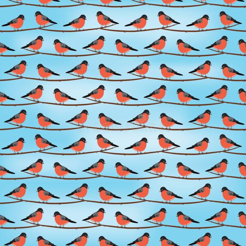 bullfinch Configuration sans joint Oiseau de vecteur sur la branche Fond illustration libre de droits