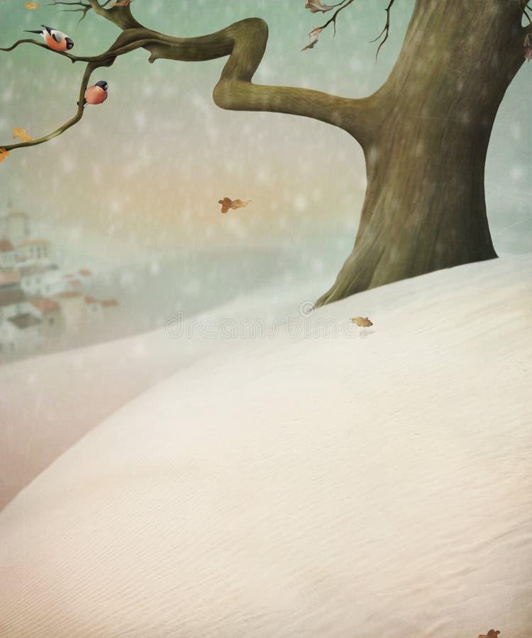 Bullfinch dois que senta-se em uma árvore. Árvore na neve. ilustração royalty free