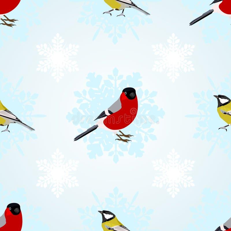 Bullfinch et mésanges illustration stock