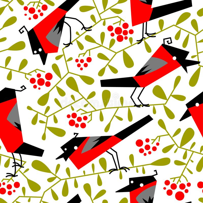 Bullfinch seamless pattern in flat simple style. Doodle floral b. Otany background with rowan branches and birds. Vector illustration for winter holidays design royalty free illustration