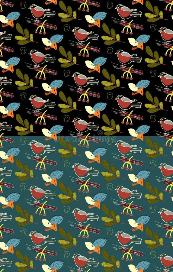 Bullfinch seamless season pattern set. Vector Illustration. Autumn. royalty free illustration