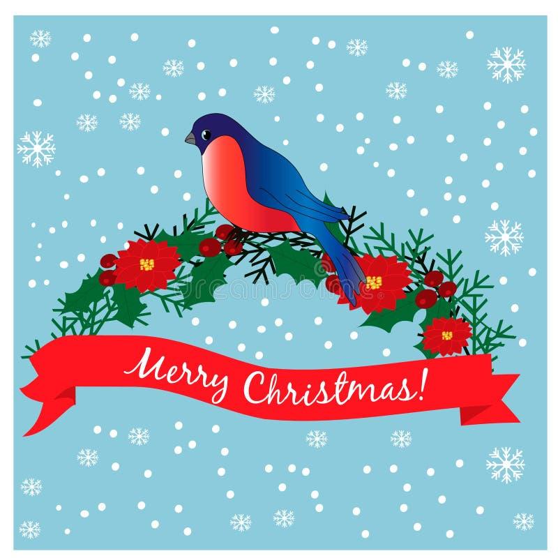 Bullfinch sur le branchement Carte de Noël illustration de vecteur