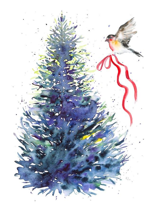 Bullfinch-vogel vliegt tot aan de kerstboom met een feestelijk rood lintje De illustratie van de waterkleur geïsoleerd op witte a royalty-vrije stock fotografie