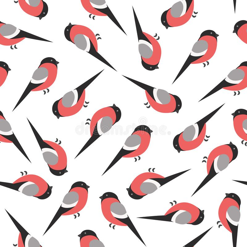 Bullfinch winter bird on white background pattern. Vector seamless pattern with bullfinches on white background royalty free illustration