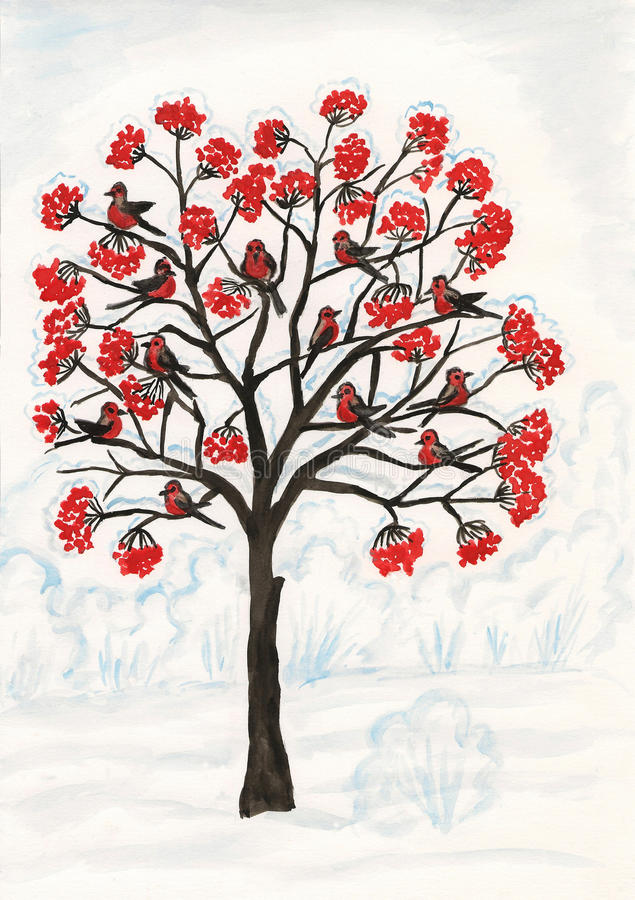 Download Bullfinches On Ash-tree, Painting Stock Illustration - Image: 33970115
