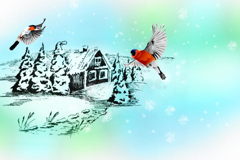 Bullfinches on the backdrop of a winter landscape painted with ink. stock illustration