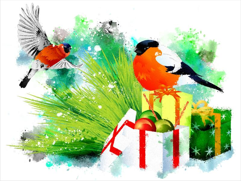 Bullfinches on Christmas gifts. vector illustration