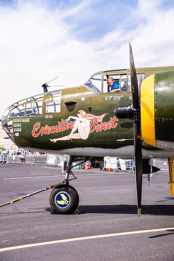 Världen för B-25 Mitchell kriger bombplan II royaltyfria foton