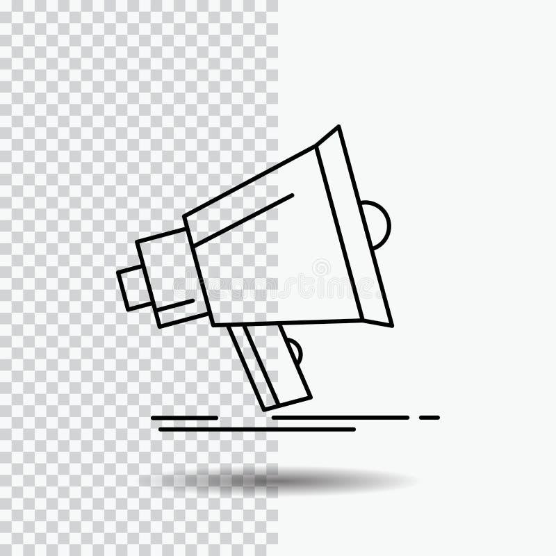 Bullhorn, ψηφιακός, μάρκετινγκ, μέσα, megaphone εικονίδιο γραμμών στο διαφανές υπόβαθρο Μαύρη διανυσματική απεικόνιση εικονιδίων διανυσματική απεικόνιση