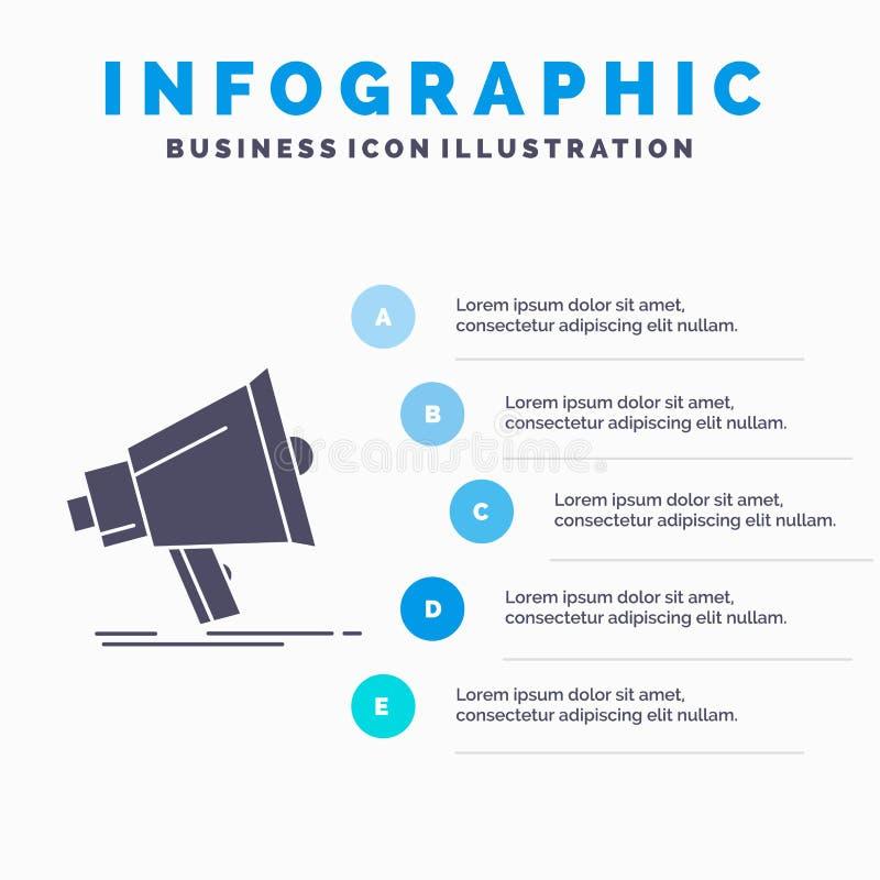 Bullhorn, ψηφιακός, μάρκετινγκ, μέσα, megaphone πρότυπο Infographics για τον ιστοχώρο και παρουσίαση Γκρίζο εικονίδιο GLyph με το διανυσματική απεικόνιση