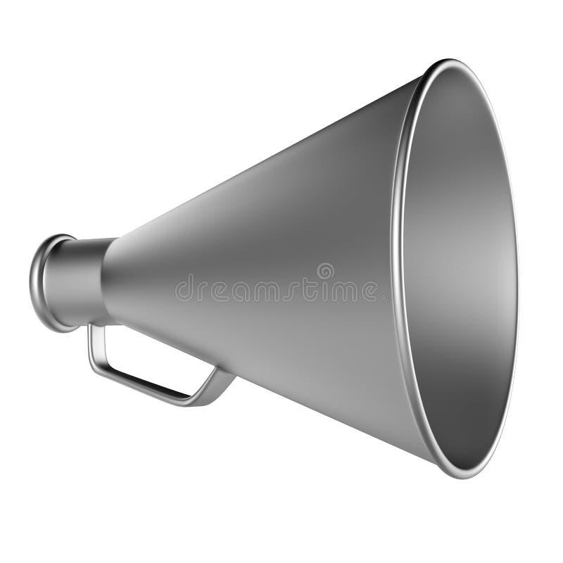 Bullhorn 3D…, Den Retro megafonen i ett aluminium färgar isolerat på vitbakgrund. royaltyfri illustrationer