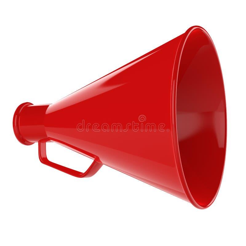 Bullhorn 3D…, Den Retro megafonen i ett rött färgar isolerat på vitbakgrund. royaltyfri illustrationer
