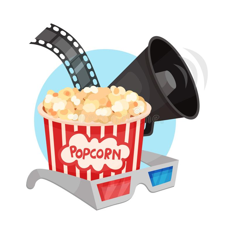 Bullhorn, film strip, popcorn in a striped paper bucket and 3D glasses. Vector illustration on a white background. Bullhorn, film strip, popcorn in a striped royalty free illustration