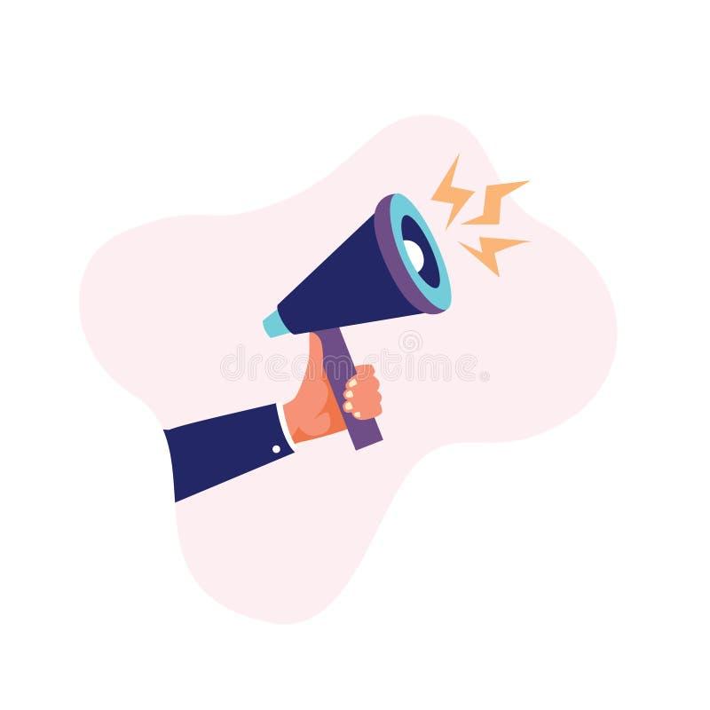 Bullhorn hand holding megaphone stock illustration