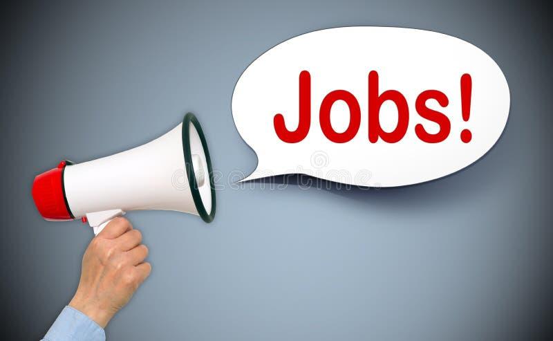 Bullhorn shouting the word Jobs stock photos
