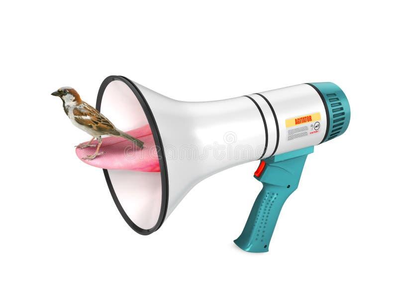 bullhorn Sparven sitter på tungan som skjuts ut ur högtalaren Det populära ordspråket 3d vektor illustrationer