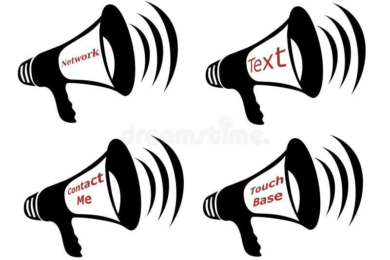 bullhorncollagekommunikation stock illustrationer
