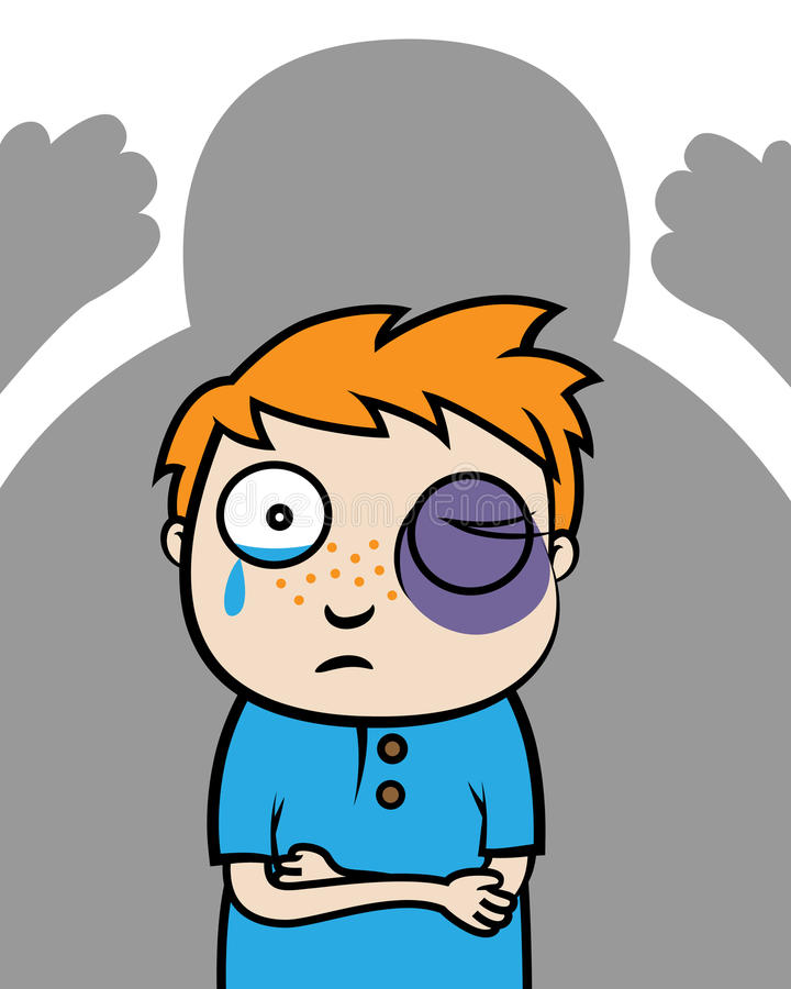 Bullied boy or victim of domestic violence. Cartoon vector illustration of a bullied boy with black eye or victim of domestic violence stock illustration