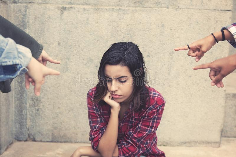 Bullied young adult arab woman royalty free stock images