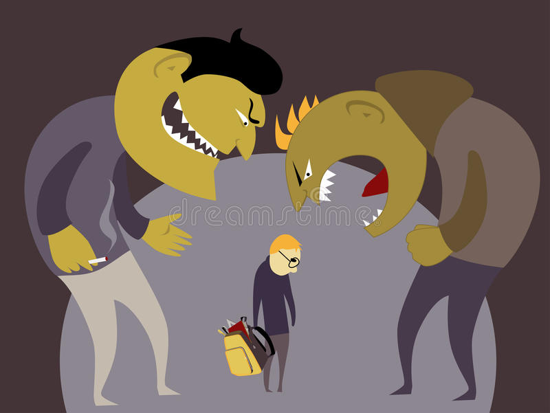 Bullies and a kid stock illustration