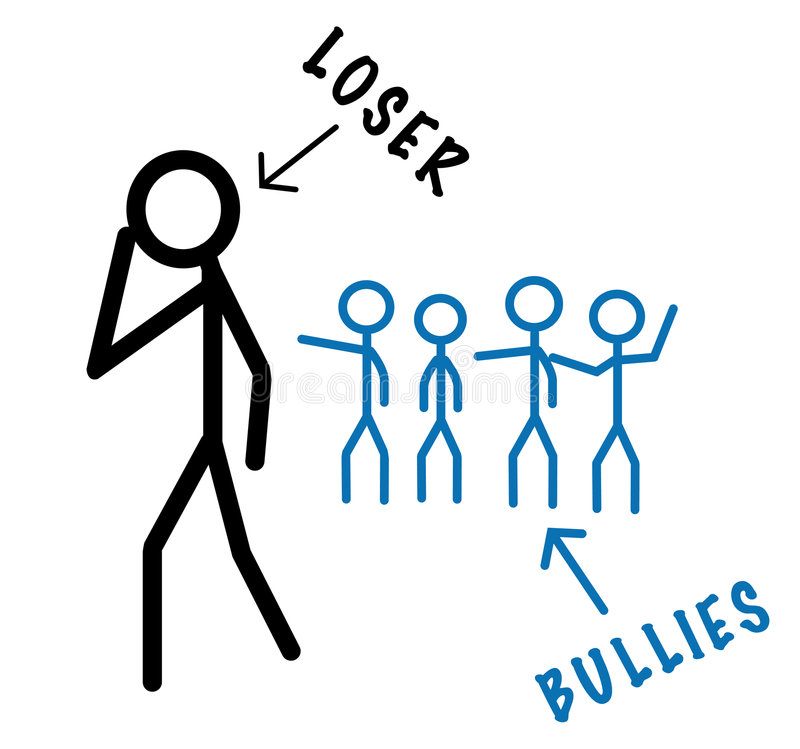 Bullies Vs Loser. A classic situation in all the schools: silhouette of bullis versus a lonely loser guy