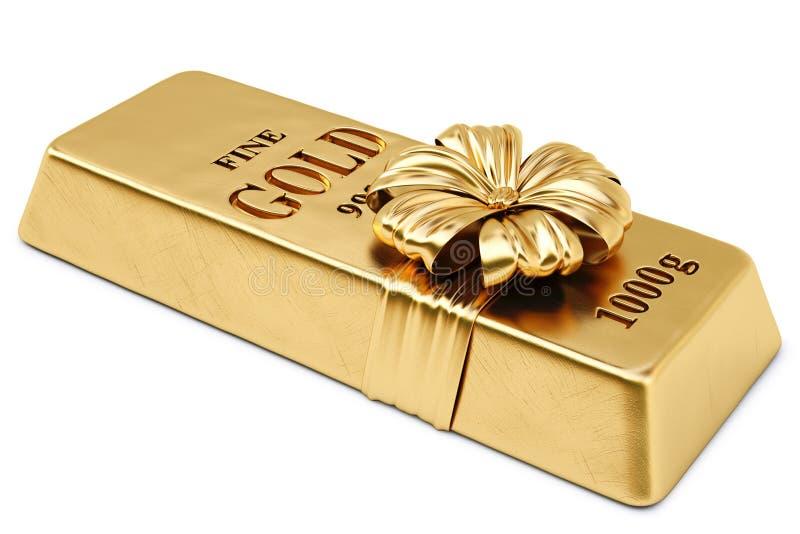 Bullion. Gold bullion tied golden ribbon with bow. isolated on white background stock illustration