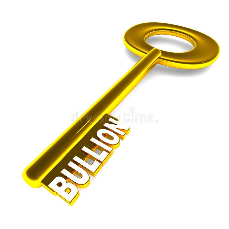 Bullion. Key to investing success, bullion investments concept, golden key with word on white background stock illustration