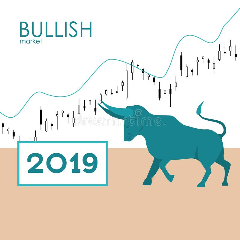 Bullish market. Bull and green arrow. The chart and the indicator show an uptrend. Stock market vector. Bullish market. Bull and green arrow. The chart and the stock illustration