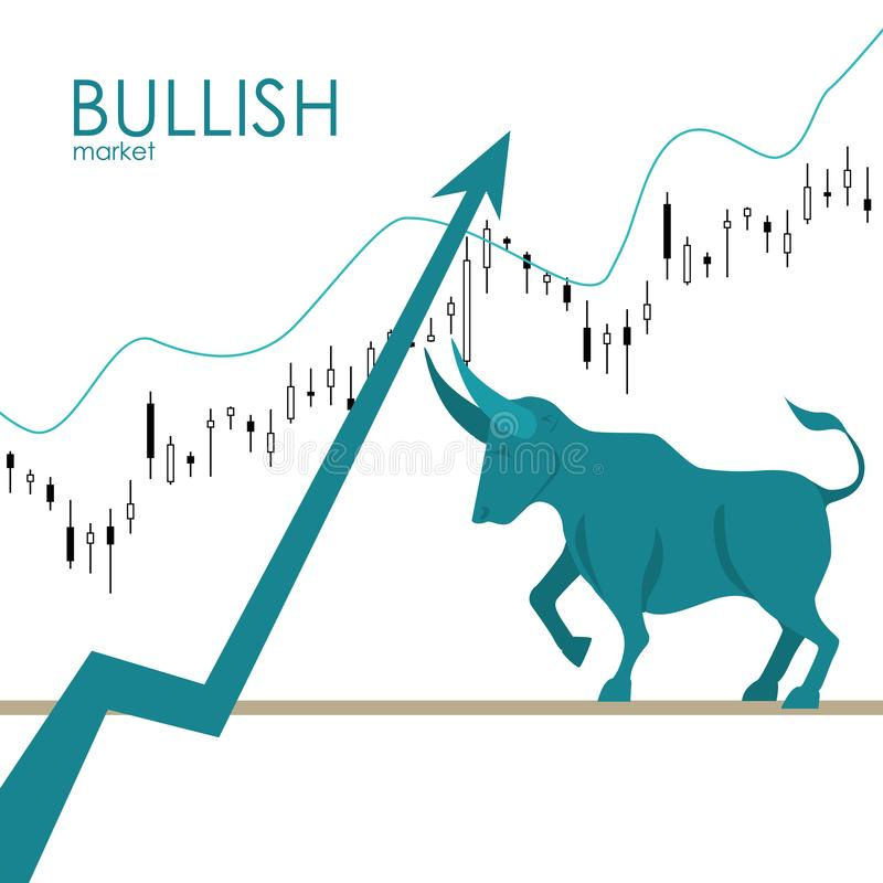 Bullish market. Bull and green arrow. The chart and the indicator show an uptrend. Stock market vector. Bullish market. Bull and green arrow. The chart and the royalty free illustration